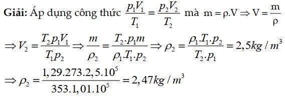 Bài tập 1 về phương trình trạng thái khí lý tưởng