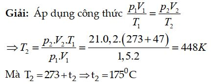 Bài tập 2 về phương trình trạng thái khí lý tưởng