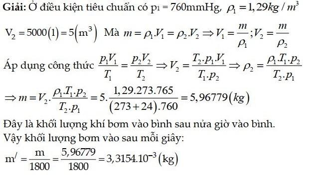Bài tập 3 về phương trình trạng thái khí lý tưởng