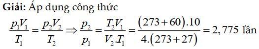 Bài tập 4 về phương trình trạng thái khí lý tưởng