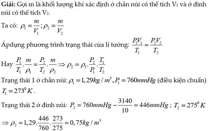 Bài tập 5 về phương trình trạng thái khí lý tưởng