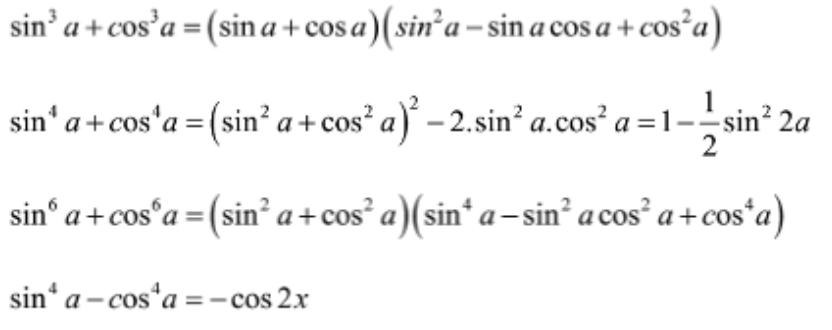 Công thức kết hợp với hằng đẳng thức đại số