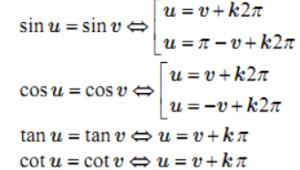 Công thức nghiệm của phương trình lượng giác cơ bản