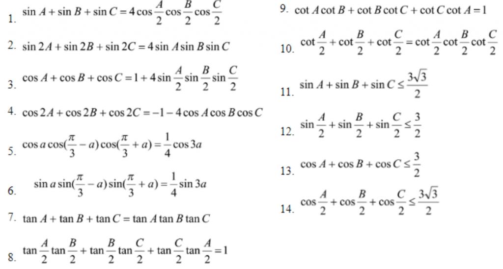 Công thức thường sử dụng trong tam giác