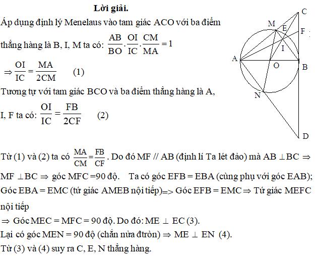 Ứng dụng định lý Menelaus bài 3