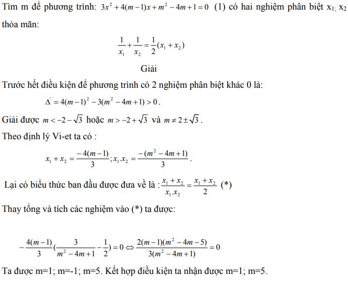 Ứng dụng định lý Vi-et - ví dụ 1