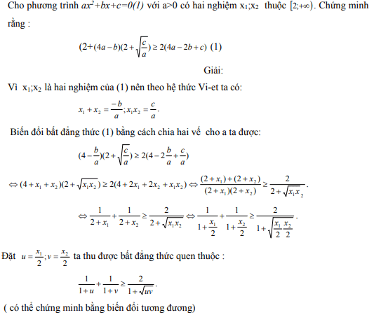 Ứng dụng định lý Vi-et - ví dụ 12