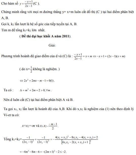 Ứng dụng định lý Vi-et - ví dụ 14