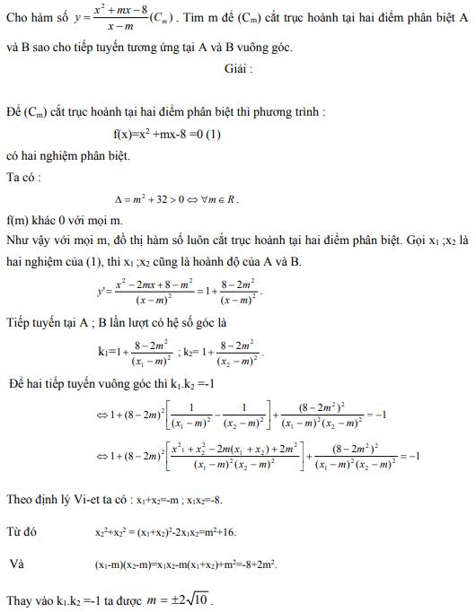 Ứng dụng định lý Vi-et - ví dụ 15