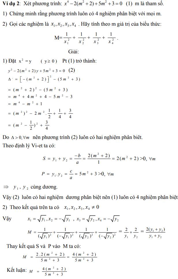 Ứng dụng định lý Vi-et - ví dụ 2