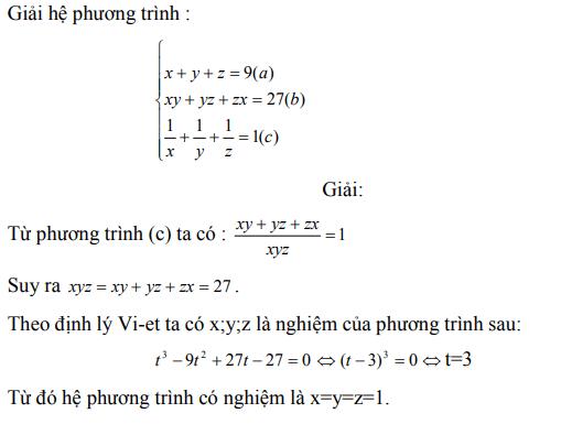 Ứng dụng định lý Vi-et - ví dụ 25
