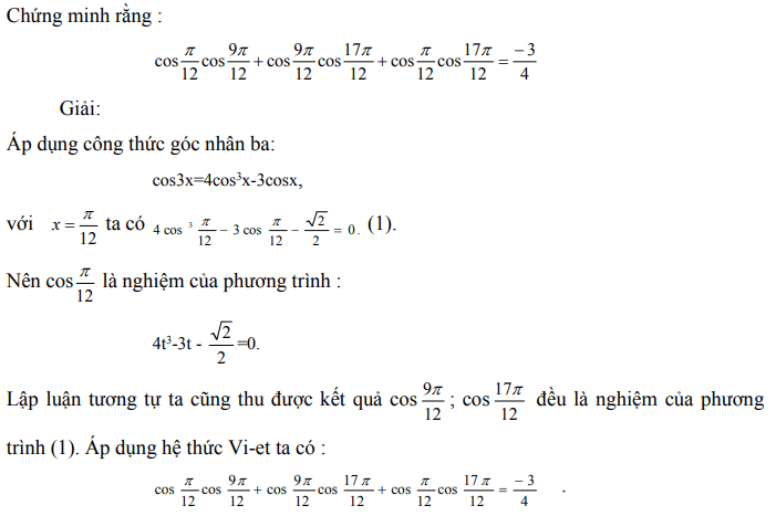 Ứng dụng định lý Vi-et - ví dụ 26