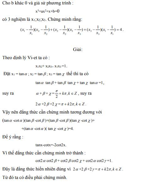 Ứng dụng định lý Vi-et - ví dụ 27