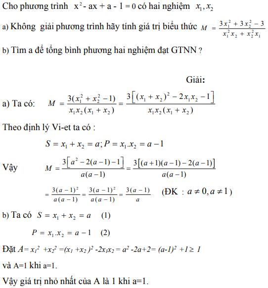 Ứng dụng định lý Vi-et - ví dụ 3