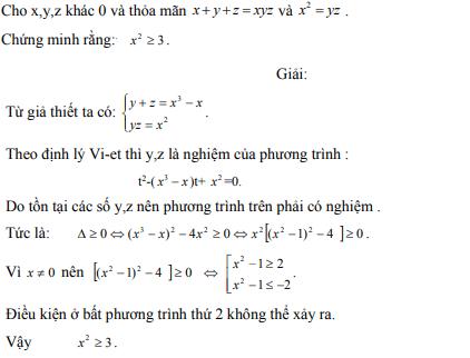 Ứng dụng định lý Vi-et - ví dụ 9