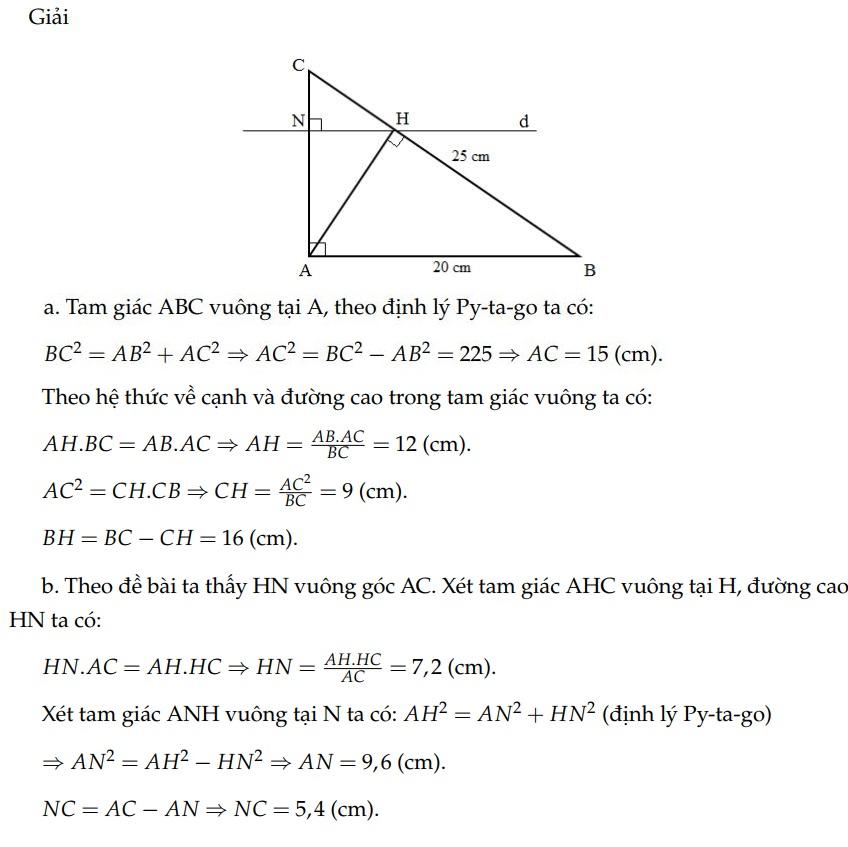 Ví dụ 2 - hệ thức lượng trong tam giác vuông